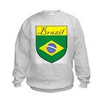Brazil Flag Crest Shield Kids Sweatshirt