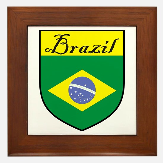 Brazil Flag Crest Shield Framed Tile