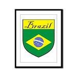 Brazil Flag Crest Shield Framed Panel Print