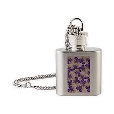 Purple Pansies Flask Necklace