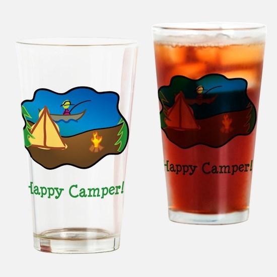 Happy Camper Green Drinking Glass