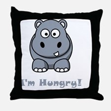 Hungry Hippo Grey Throw Pillow