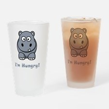 Hungry Hippo Grey Drinking Glass