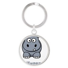 Hungry Hippo Grey Round Keychain