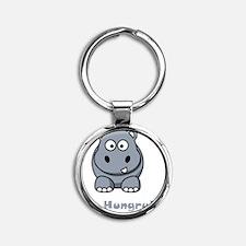 Hungry Hippo Grey Round Keychain