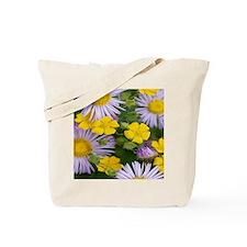 pink purple yellow flowers green photogra Tote Bag