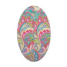 Pink Paisley FF Oval Car Magnet