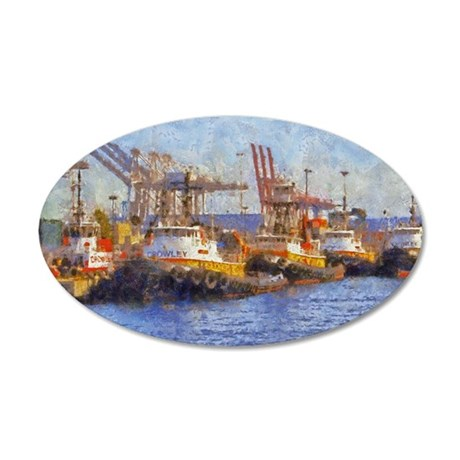 tugs 14 x 10 35x21 Oval Wall Decal