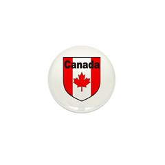 Canadian Flag Shield Mini Button (100 pack)