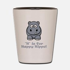 H is for Happy Hippo Grey Shot Glass
