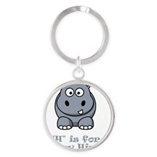 H is for Happy Hippo Grey Round Keychain