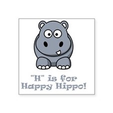 "H is for Happy Hippo Grey Square Sticker 3"" x 3"""