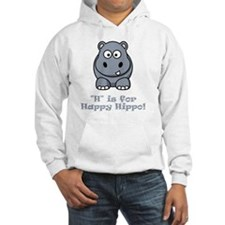 H is for Happy Hippo Grey Hoodie