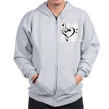 Black Music Heart Zip Hoody