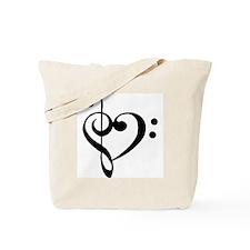 Black Music Heart Tote Bag