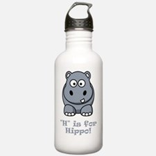 H is for Hippo Grey Water Bottle