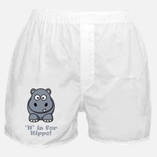 H is for Hippo Grey Boxer Shorts