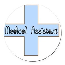 Medical assistant cross blue Round Car Magnet