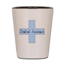 Medical assistant cross blue Shot Glass