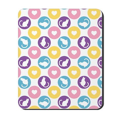 Heart Kitties Polka Dot Mousepad