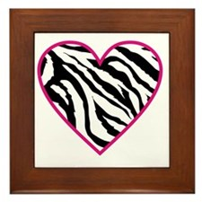 zebra heart Framed Tile