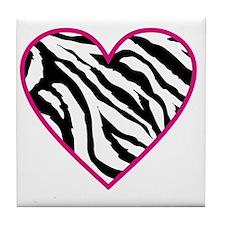 zebra heart Tile Coaster