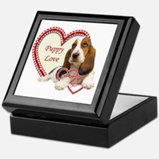 Basset Hound Puppy Love holding heart Keepsake Box
