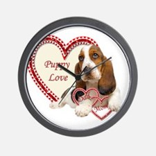 Basset Hound Puppy Love holding hearts Wall Clock