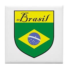 Brasil Flag Crest Shield Tile Coaster