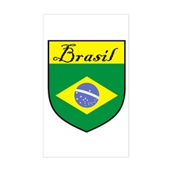 Brasil Flag Crest Shield Rectangle Decal