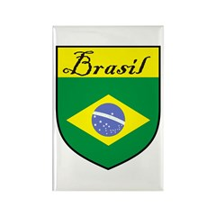 Brasil Flag Crest Shield Rectangle Magnet (10 pack