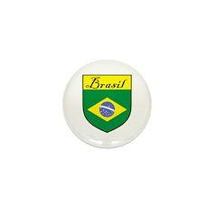 Brasil Flag Crest Shield Mini Button (10 pack)