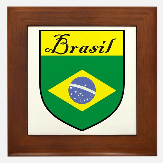 Brasil Flag Crest Shield Framed Tile