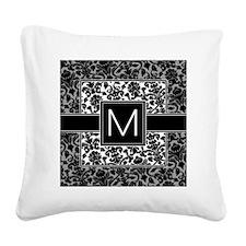 damask_monogram_M Square Canvas Pillow