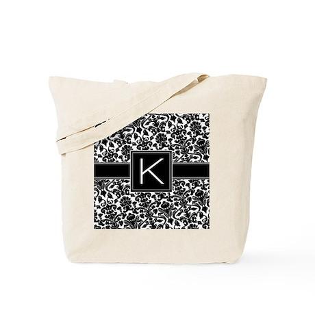 damask_monogram_K_nb Tote Bag