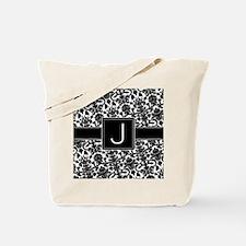 damask_monogram_J_nb Tote Bag