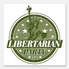 "Libertarian_Green Square Car Magnet 3"" x 3"""