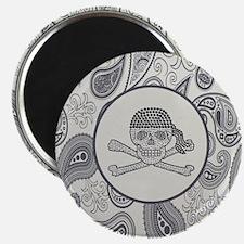 nautical pirate skull modern paisley patter Magnet