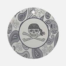 nautical pirate skull modern paisle Round Ornament