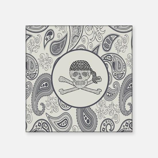 "nautical pirate skull moder Square Sticker 3"" x 3"""