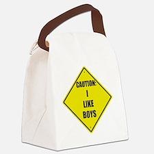Caution I like boys Canvas Lunch Bag