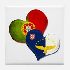 Portugal and Azores hearts Tile Coaster