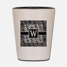 damask_monogram_W Shot Glass