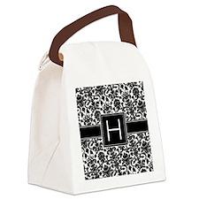 damask_monogram_H_nb Canvas Lunch Bag