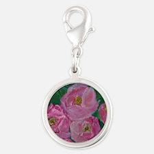 Pink Bouquet Silver Round Charm