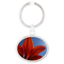 Sunlit Tiger Lily Oval Keychain