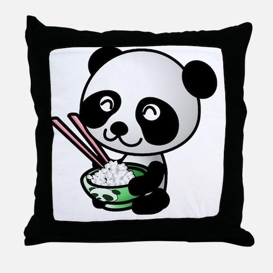 Panda Rice Black Throw Pillow