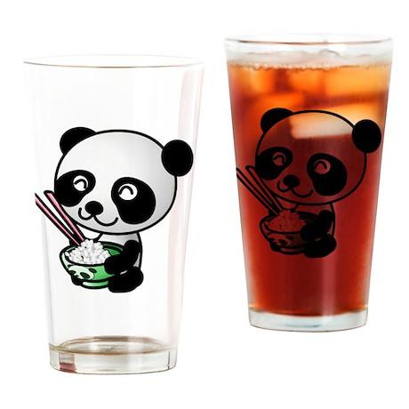 Panda Rice Black Drinking Glass
