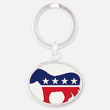 Democrat Donkey Oval Keychain