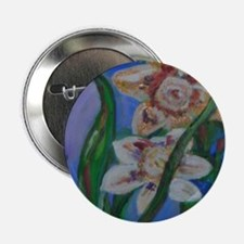 """Gold Flowers 2.25"""" Button"""